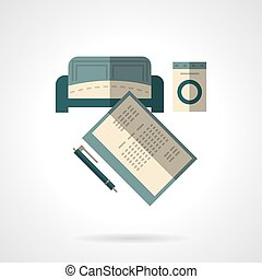 Room rent flat vector icon - Rent of property. Document with...