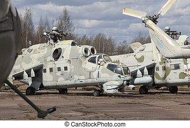 Abandoned old Soviet military chopper