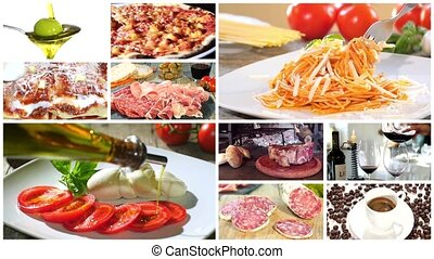 italian pasta collage - a montage including diverse italian...