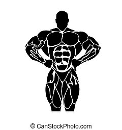 Bodybuilding, power lifting concept isolated on white...