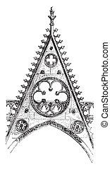 Gable of the south portal of Notre-Dame de Paris, vintage...