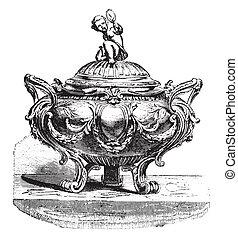 Sugar bowl silver Louis XVI style, vintage engraving.