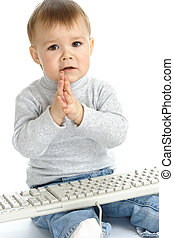 Cute child begging IT support for help, isolated over white
