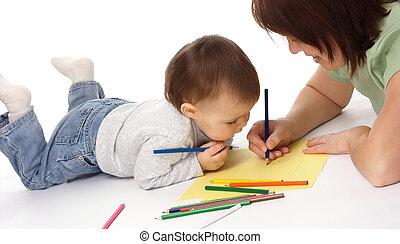 Empate, niño, enseñar, ella, madre