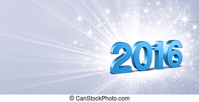 2016 festive greeting card - 3D New Year blue 2016 on a...