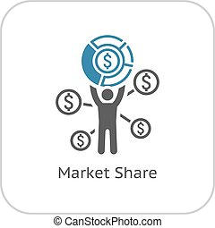 Market Share Icon Business Concept Flat Design Isolated...
