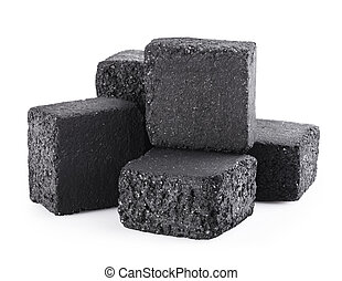 charcoal cubes - Group of charcoal cubes isolated on white...