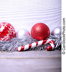 Christmas ornaments on white background