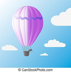baloon - travel balloon flying at the blue sky with clouds