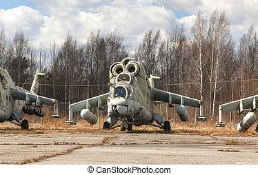 Abandoned Russian attack helicopter