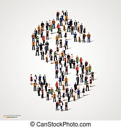 Large group of people forming the dollar sign. Vector...