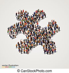 Large group of people forming the puzzle shape. Vector -...