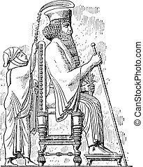 King on his throne, vintage engraving. - King on his throne,...