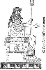 Greek throne, vintage engraving - Greek throne, vintage...