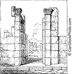 Entrance to the house of Pansa, vintage engraving.