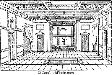 Atrium of the house of Sallust, vintage engraving.