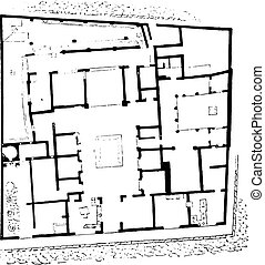 Plan of the house of Sallust, vintage engraving.