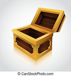 Wooden treasure chest on white background Vector...