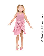 Little Girl in a Pink Dress Jumping
