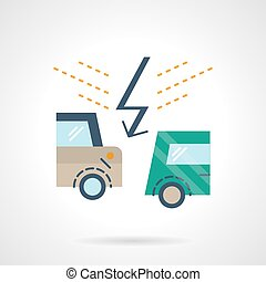 Flat color car accident vector icon