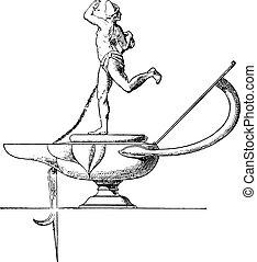 Dancer lamp, vintage engraving.