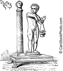 Candelabra column, vintage engraving.