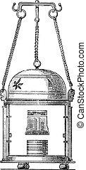 Hand lantern, vintage engraving.
