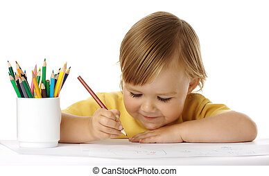 Child draw with crayons