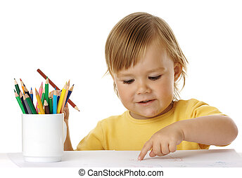 Child points on his drawing
