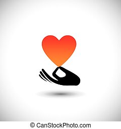 heart or love symbol in hand vector logo icon this also...