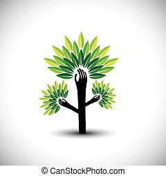 recycling, eco tree hand with leaf