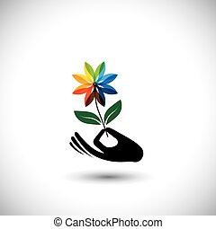 spa concept graphic with womans hand and flower - vector...