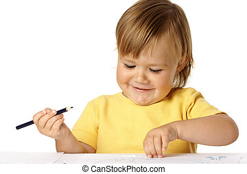 Playful child draw with crayons and smile