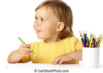 Happy child play with crayons and smile