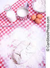 Preparing donuts in kichen table