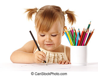 Cute child draw with color pencils