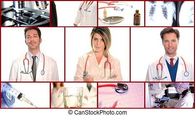 medical doctors collage - Medical work montage Doctors,...