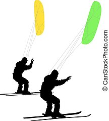 Men ski kiting on a frozen lake Vector illustration