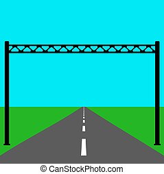 Blank road sign on the road.  Vector illustration.