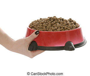 hand holding on to large bowl of dog food on white background