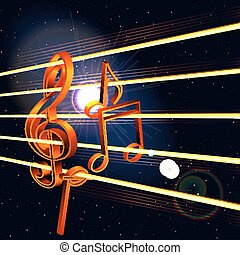treble clef and notes in space - Vector treble clef with...