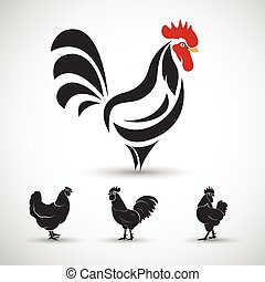 cock - Chicken and cock symbol on white background , vector...