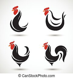 Hen and cock hand drawn sketch on white background , vector...