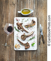 Grilled lamb chops. Rack of Lamb with garlic, rosemary and...