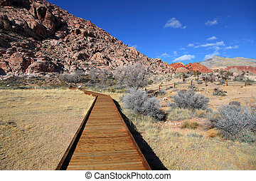 Board walk at red rock canyon,Nevada