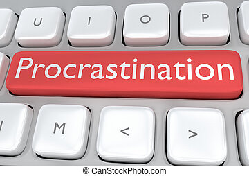Procrastination Button concept - Render illustration of...