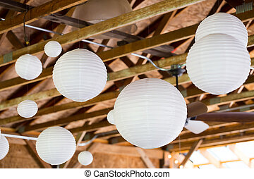 White Chinese Paper Lanterns - White Chinese paper lanterns...