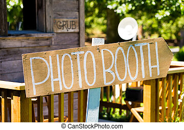 Wood Wedding Photobooth Sign - Photobooth sign outdoors at a...