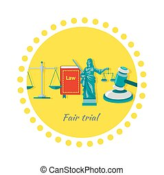 Fair Trial Concept Icon Flat Design - Fair trial concept...