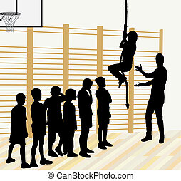 Physical Education - Vector illustration silhouettes of...